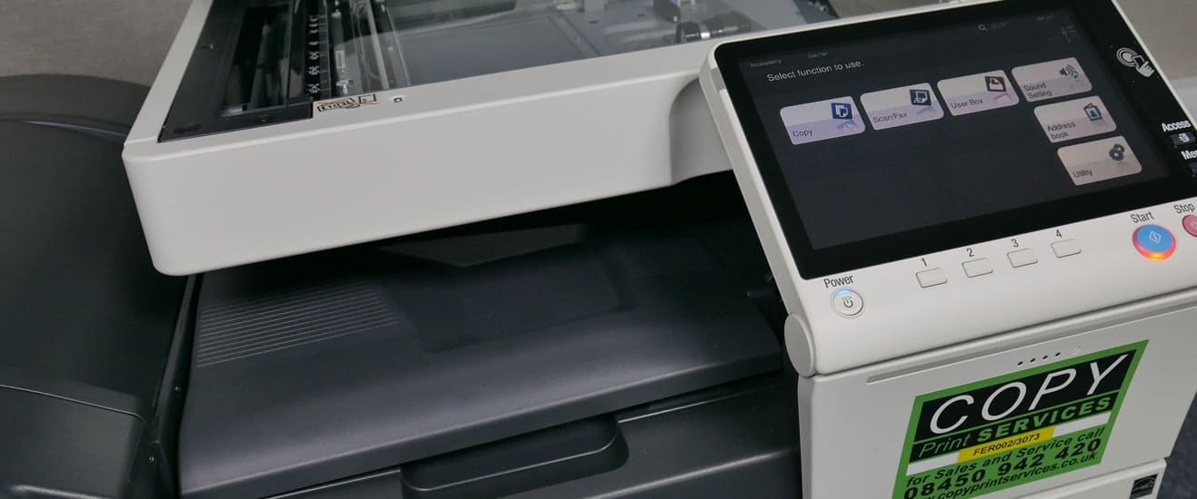 up close of copy printer showing the touch screen