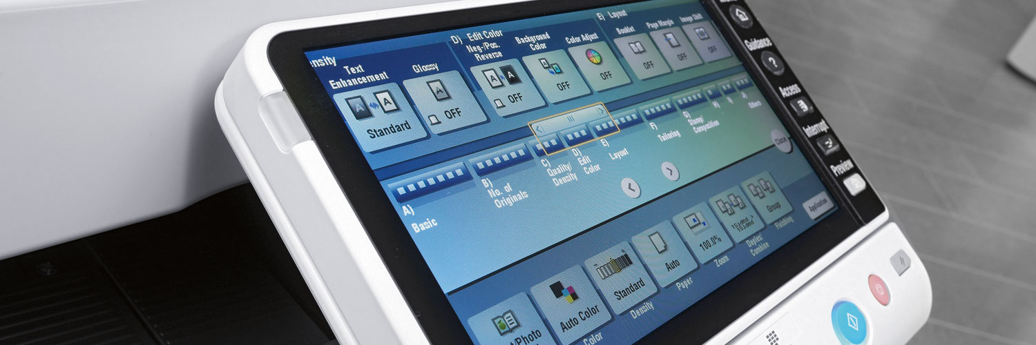 what is a managed print service? Up close of printer touch screen pad