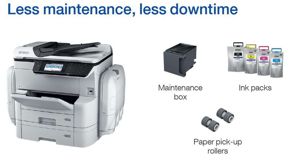 Less Maintenance equals less downtime on the new Epson Printer