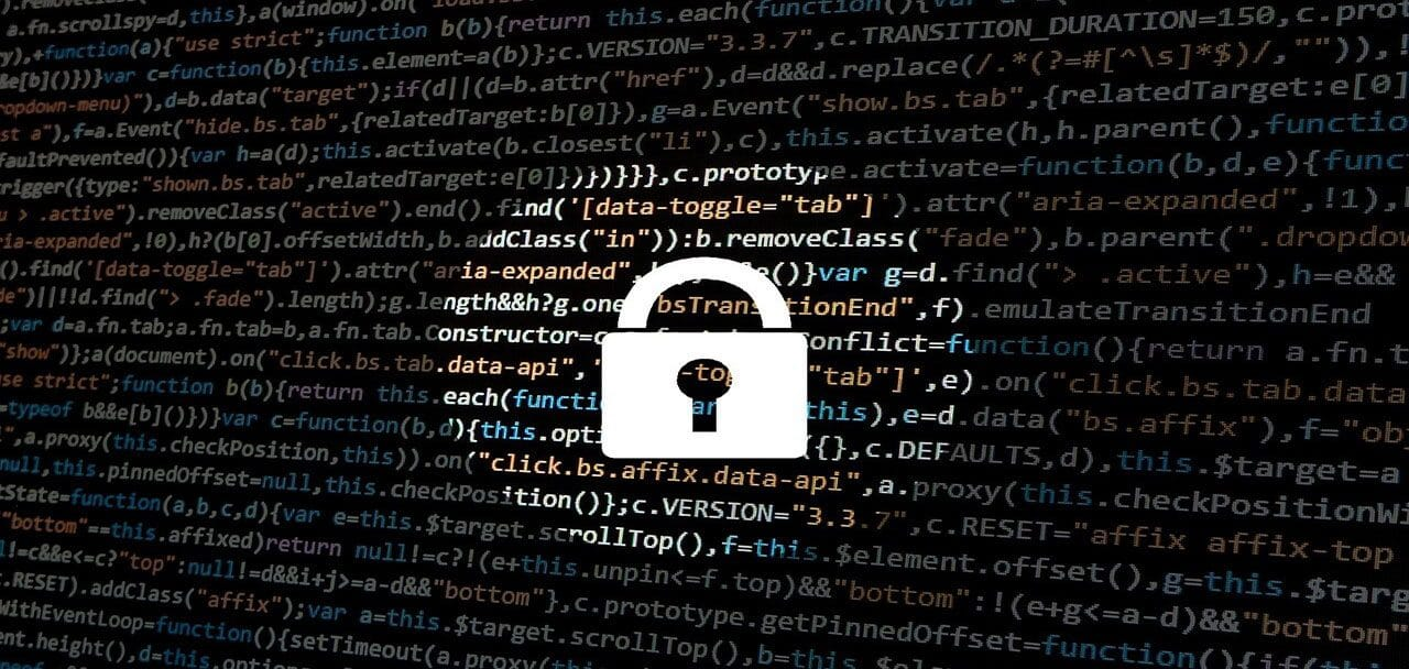 Code background with a padlock in the centre